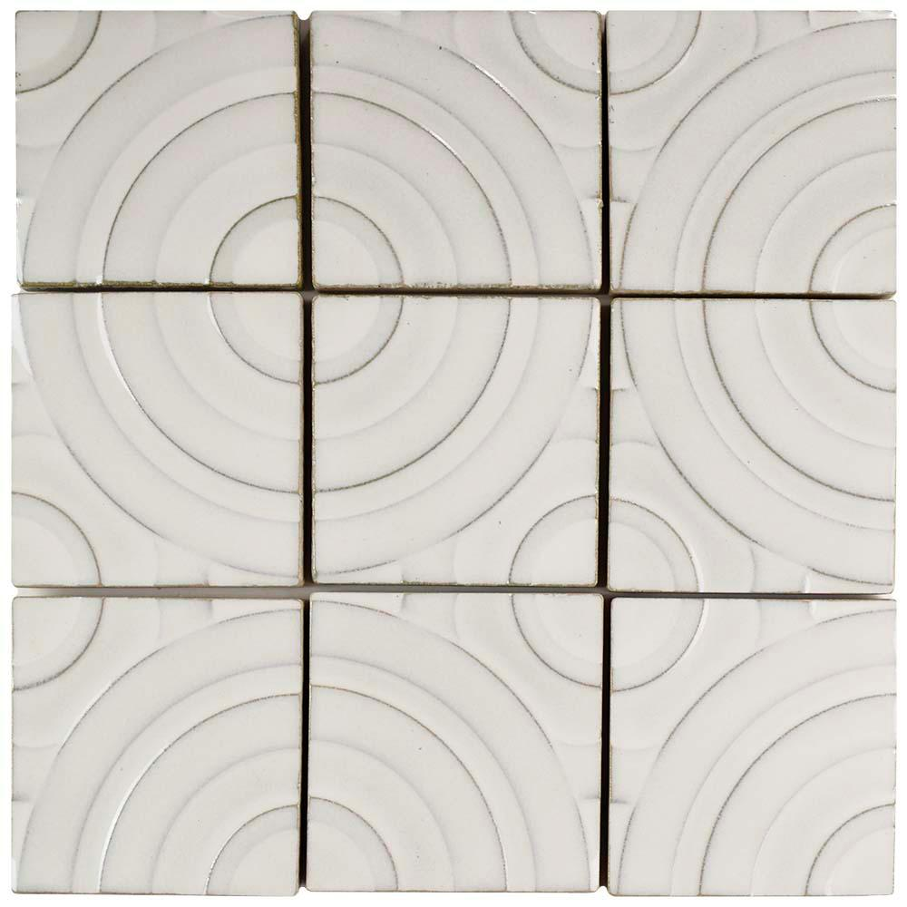 Merola Tile Metro Soho Chevron Glossy White 1 3 4 In X 7