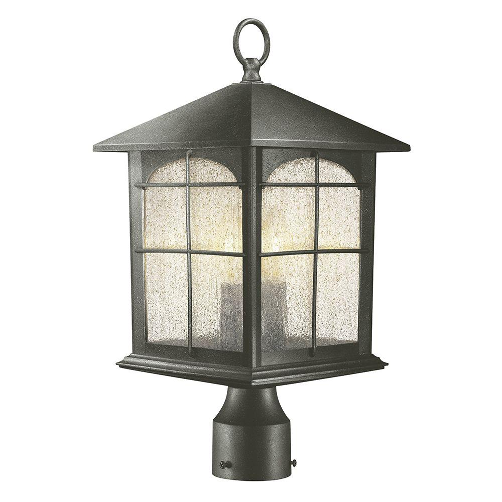 Home decorators collection post lighting outdoor lighting the brimfield 3 light outdoor aged iron post light aloadofball