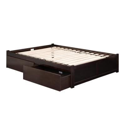 Concord Espresso Queen Platform Bed with Flat Panel Foot Board and 2-Urban Bed Drawers