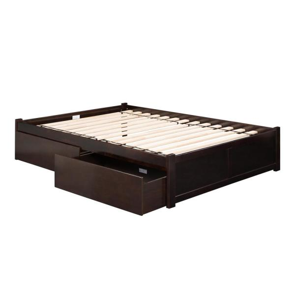 Atlantic Furniture Concord Espresso Queen Platform Bed With Flat Panel Foot Board And 2 Urban Bed Drawers Ar8042111 The Home Depot