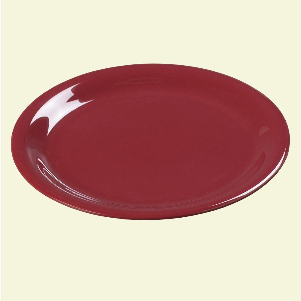 Carlisle 9 in. Diameter Melamine Narrow Rim Dinner Plate in Roma Red (Case of 24)-DISCONTINUED