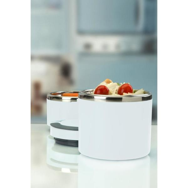 Kitchen Details White 2-Tier Round Twist Stainless Steel Insulated Lunch Box