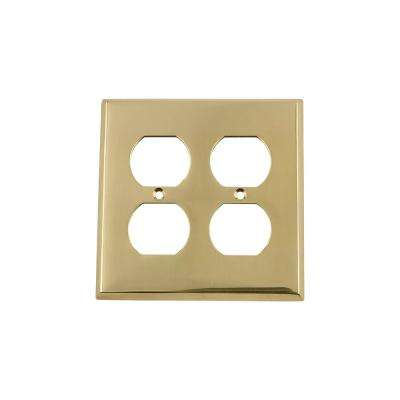 New York Switch Plate with Double Outlet in Polished Brass