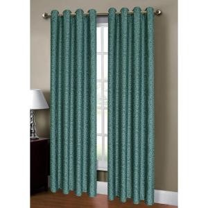 Window Elements Semi-Opaque Mirabel Jacquard 54 inch W x 84. L Grommet Extra Wide Curtain Panel in Teal by Window Elements