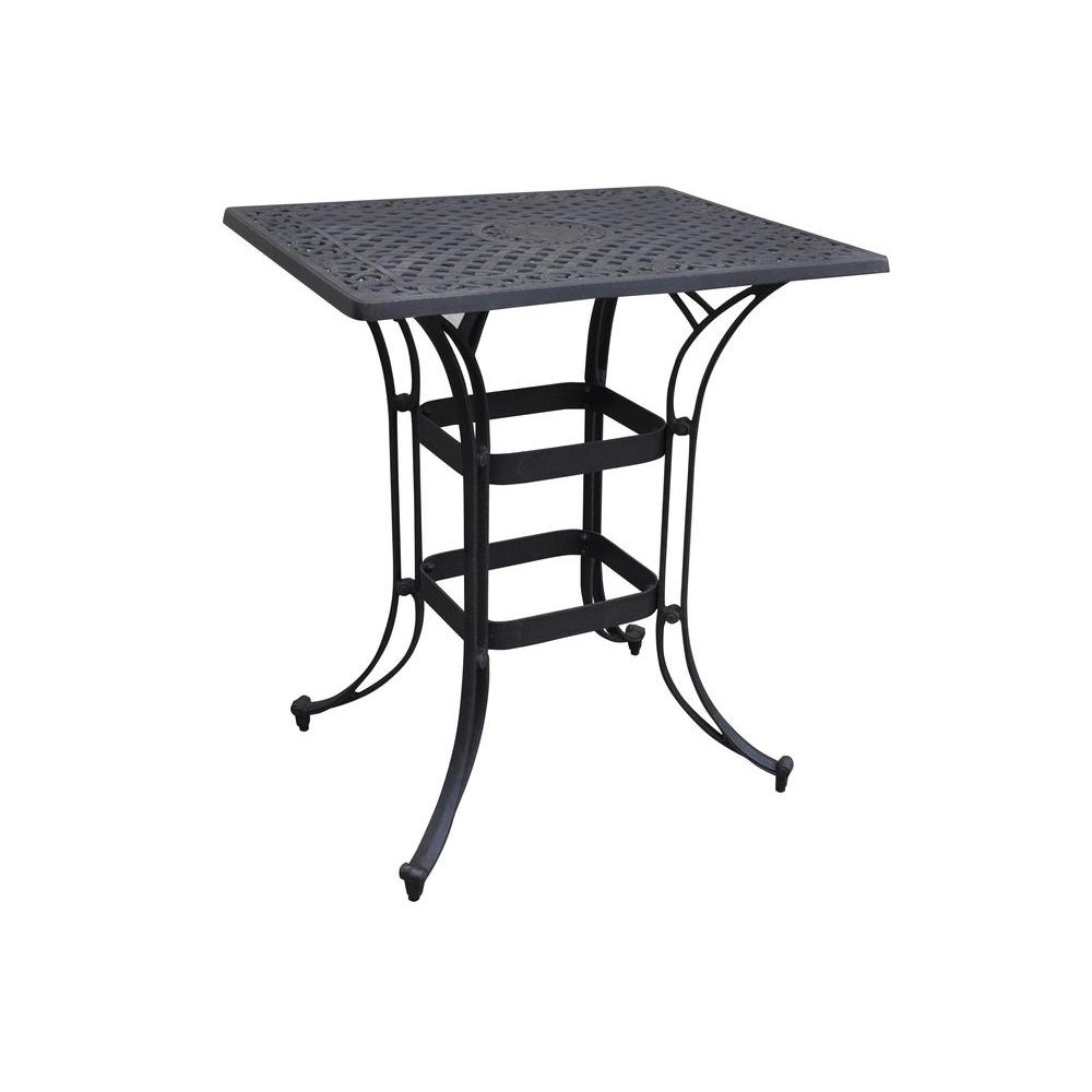 Home Styles Biscayne Black 36 in. x 30 in. Rectangular Patio Bistro Table
