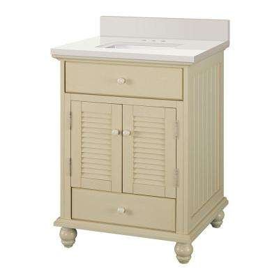 Cottage 25 in. W x 22 in. D Vanity in Antique White with Engineered Marble Vanity Top in Winter White with White Sink