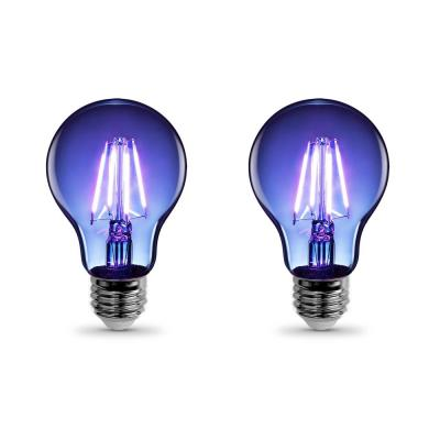 25-Watt Equivalent A19 Medium E26 Base Dimmable Filament Blue Colored LED Clear Glass Light Bulb (2-Pack)