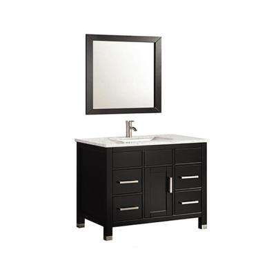 Ricca 36 in. W x 22 in. D x 36 in. H Vanity in Espresso with Marble Vanity Top in White with White Basin and Mirror