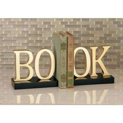 7 in. x 6 in. BO-OK Wooden Bookends
