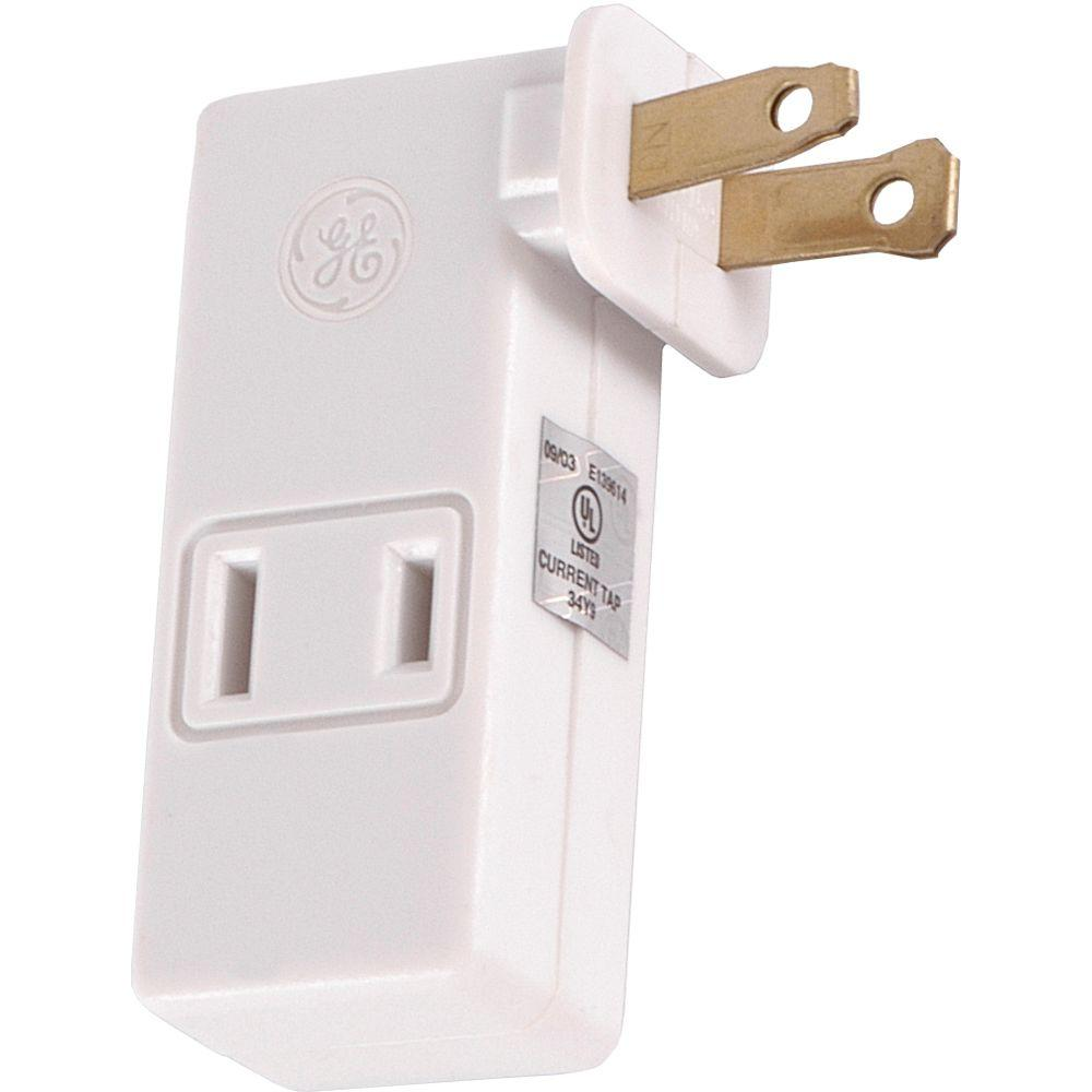 GE Polarized 3-Outlet Adapter with Space Saving Side Outlets - White