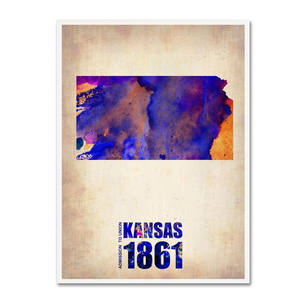 Trademark Fine Art 32 in. x 24 in. Kansas Watercolor Map Canvas Art