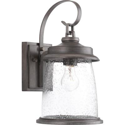 Conover Collection 1-Light Antique Pewter 16 in. Outdoor Wall Lantern Sconce