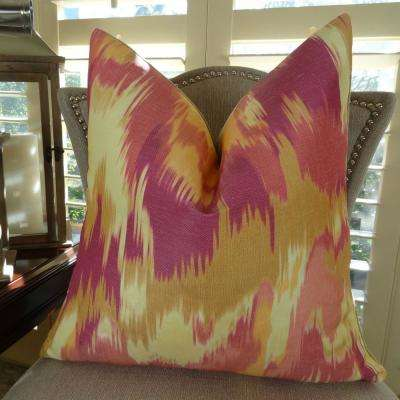 Olavanna Ikat 26 in. x 26 in. Magenta, Orange and Cream Hypoallergenic Down Alternative Double Sided Throw Pillow
