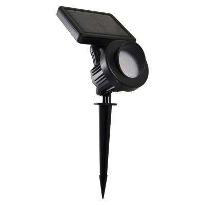 0.75-Watt Black Outdoor Integrated LED Landscape Spot Light with Dusk to Dawn Activation and Solar Panel