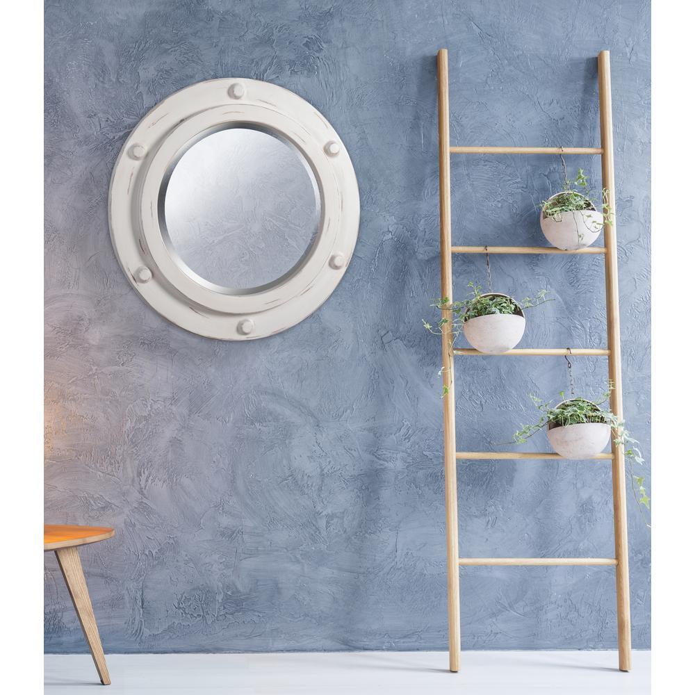 Portside Round White Decorative Wall Mirror