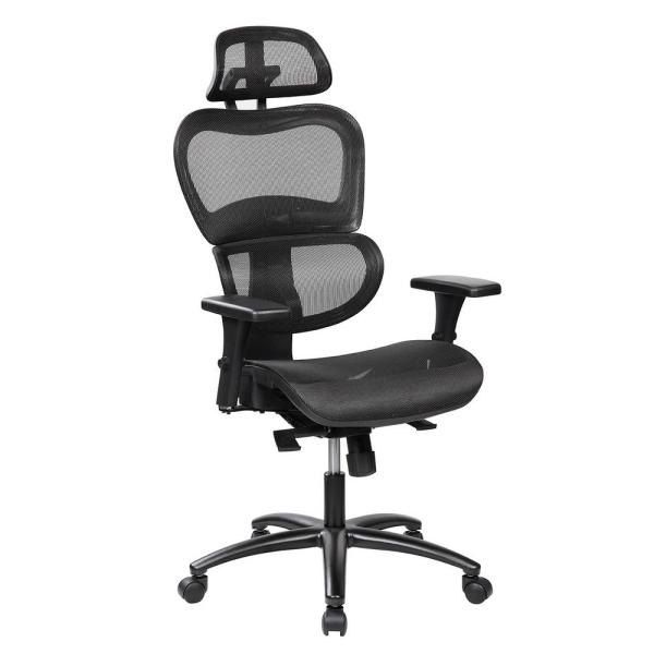 Techni Mobili Black Mesh High Back Executive Office Chair with Neck Support