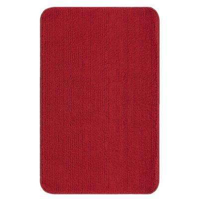 Solid Design Red 3 ft. 3 in. x 5 ft. Non-Slip Bathroom Area Rug