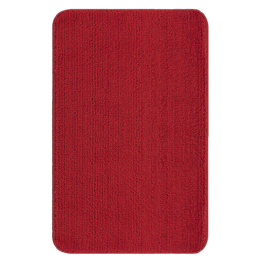 Red Bathroom Rug: Ottomanson Solid Design Red 3 Ft. 3 In. X 5 Ft. Non-Slip