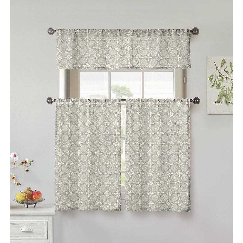 Vera Lolana Grey Kitchen Curtain Set