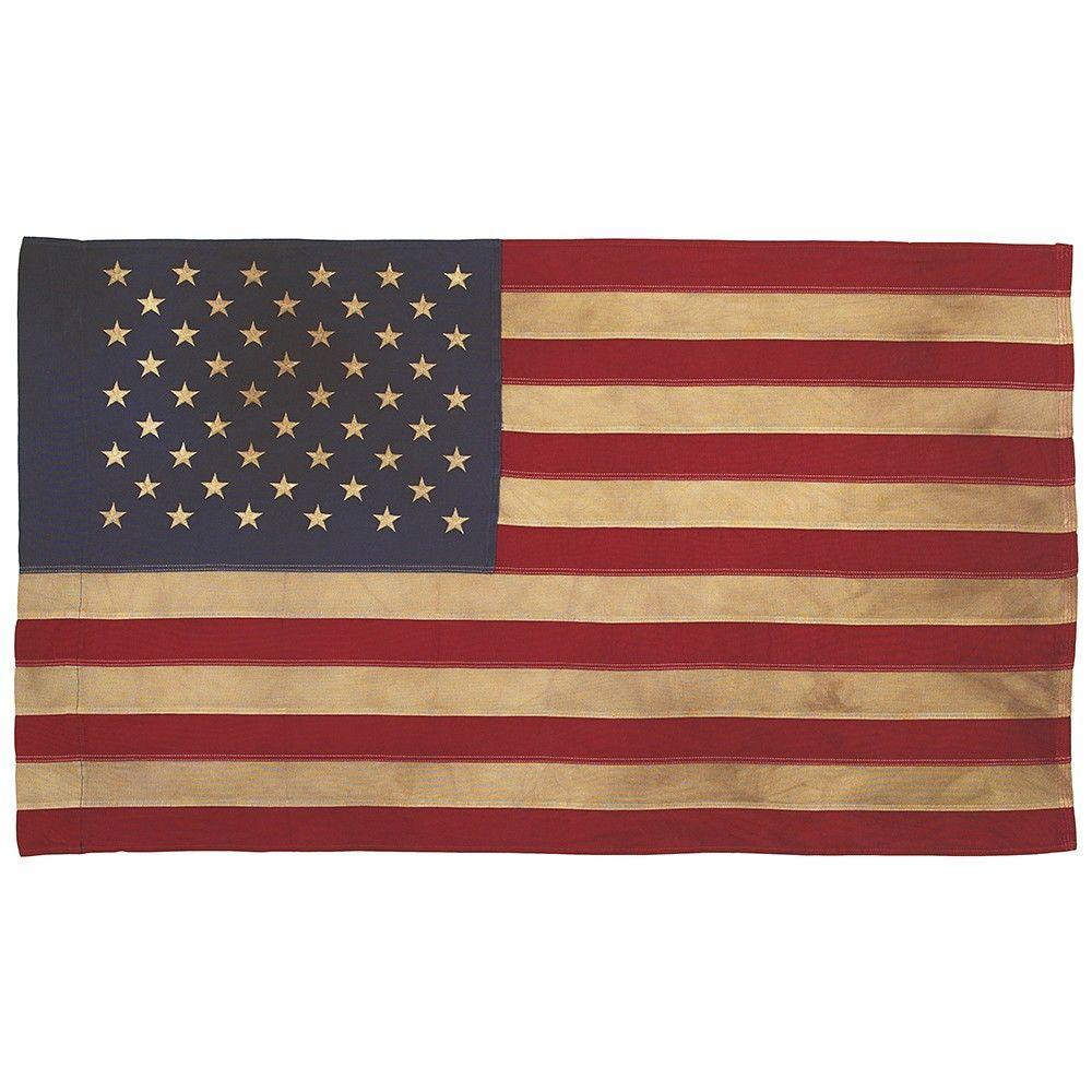 2-1/2 ft. x 4 ft. Sleeved Cotton 50-Star Antiqued U.S. Flag