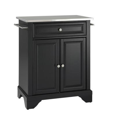 Lafayette Black Portable Kitchen Island with Stainless Steel Top
