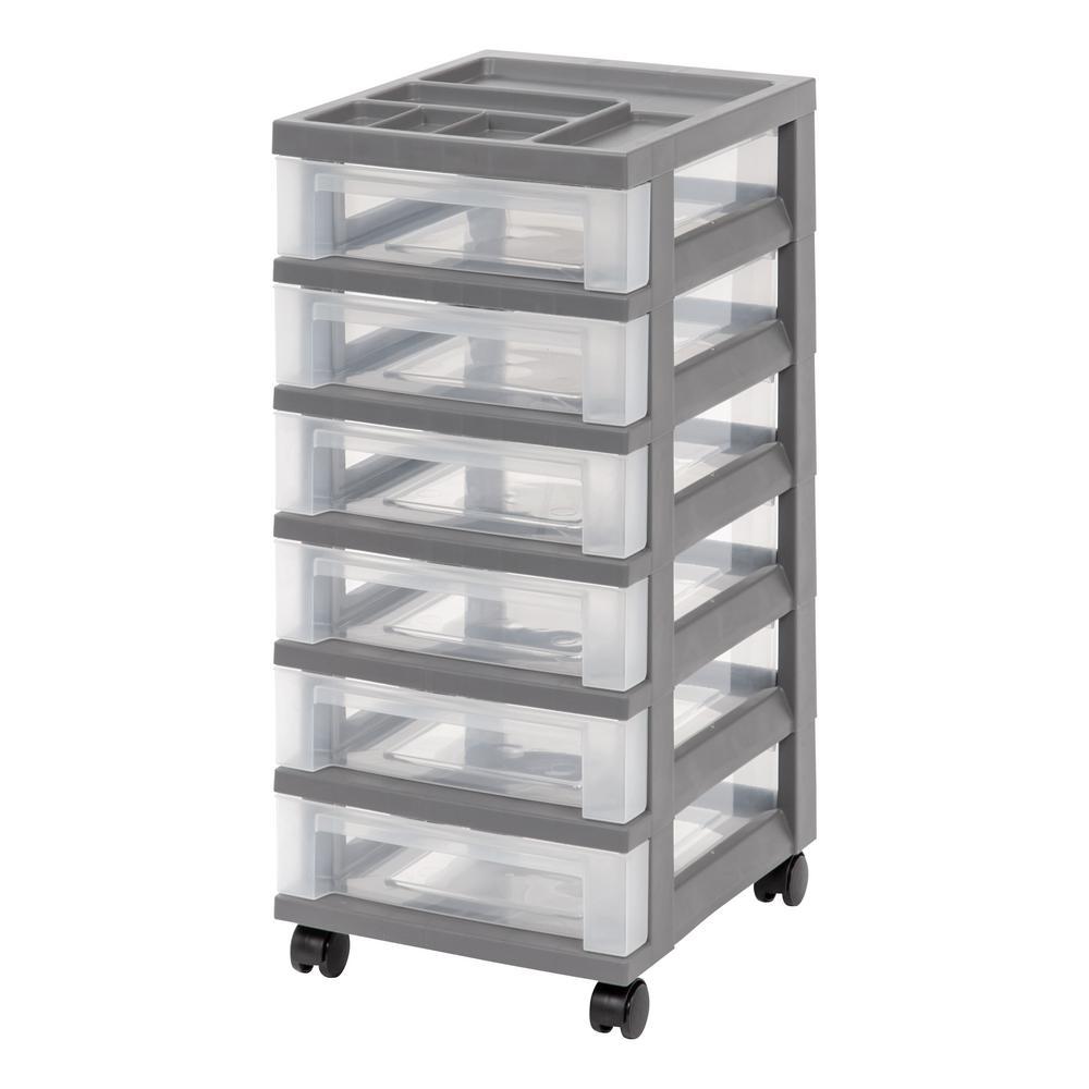 Gray Medium 6 Drawer Storage Cart With Organizer Top