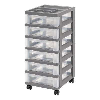 12.05 in. x 26.44 in. Gray Medium 6-Drawer Storage Cart with Organizer Top
