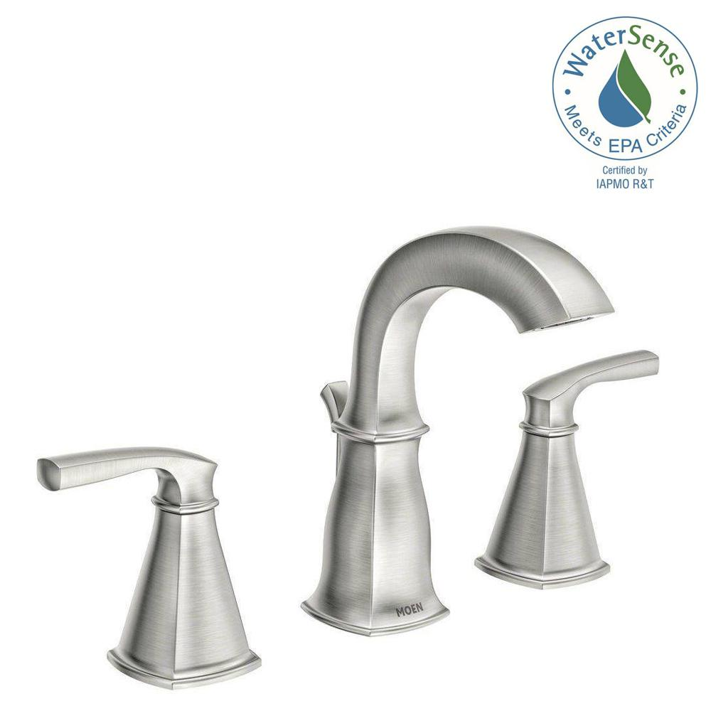 MOEN Hensley 8 in. Widespread 2-Handle Bathroom Faucet in Spot ...