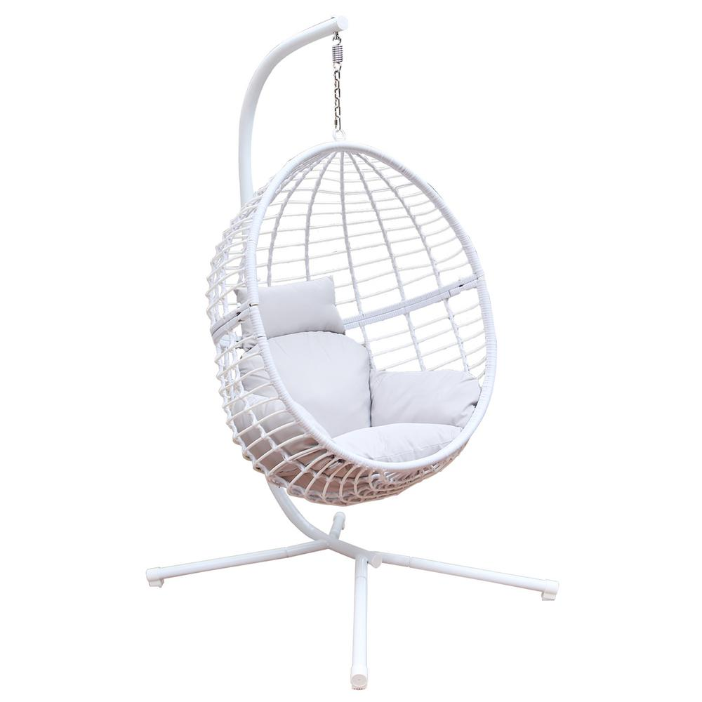 Maypex 78 in. Wicker Outdoor Basket Swing Chair with White ...