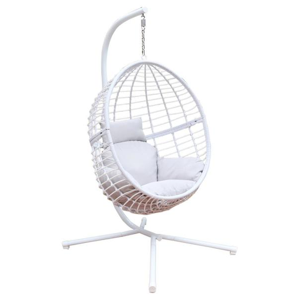 Mid Century Rattan Chair, Maypex 78 In Wicker Outdoor Basket Swing Chair With White And Grey Cushions And Stand 300245 The Home Depot