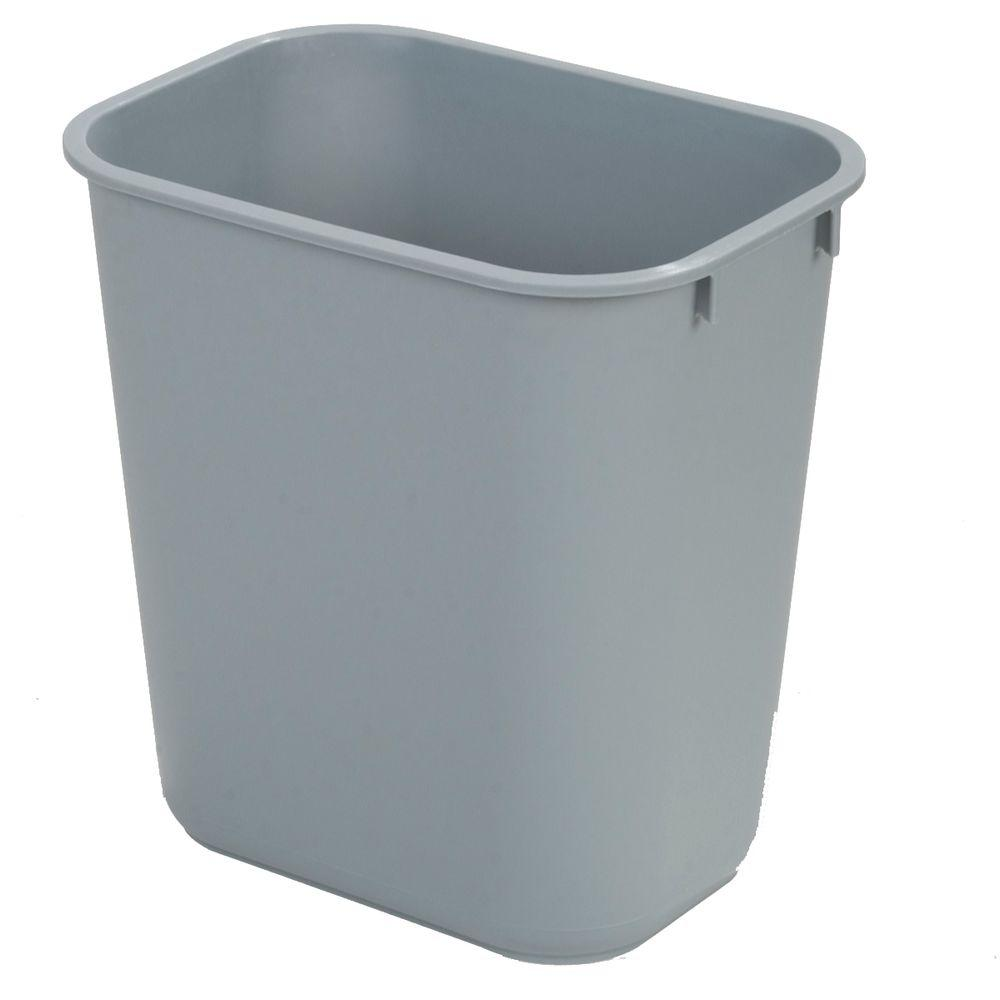 Gray rectangular office trash can 12 case