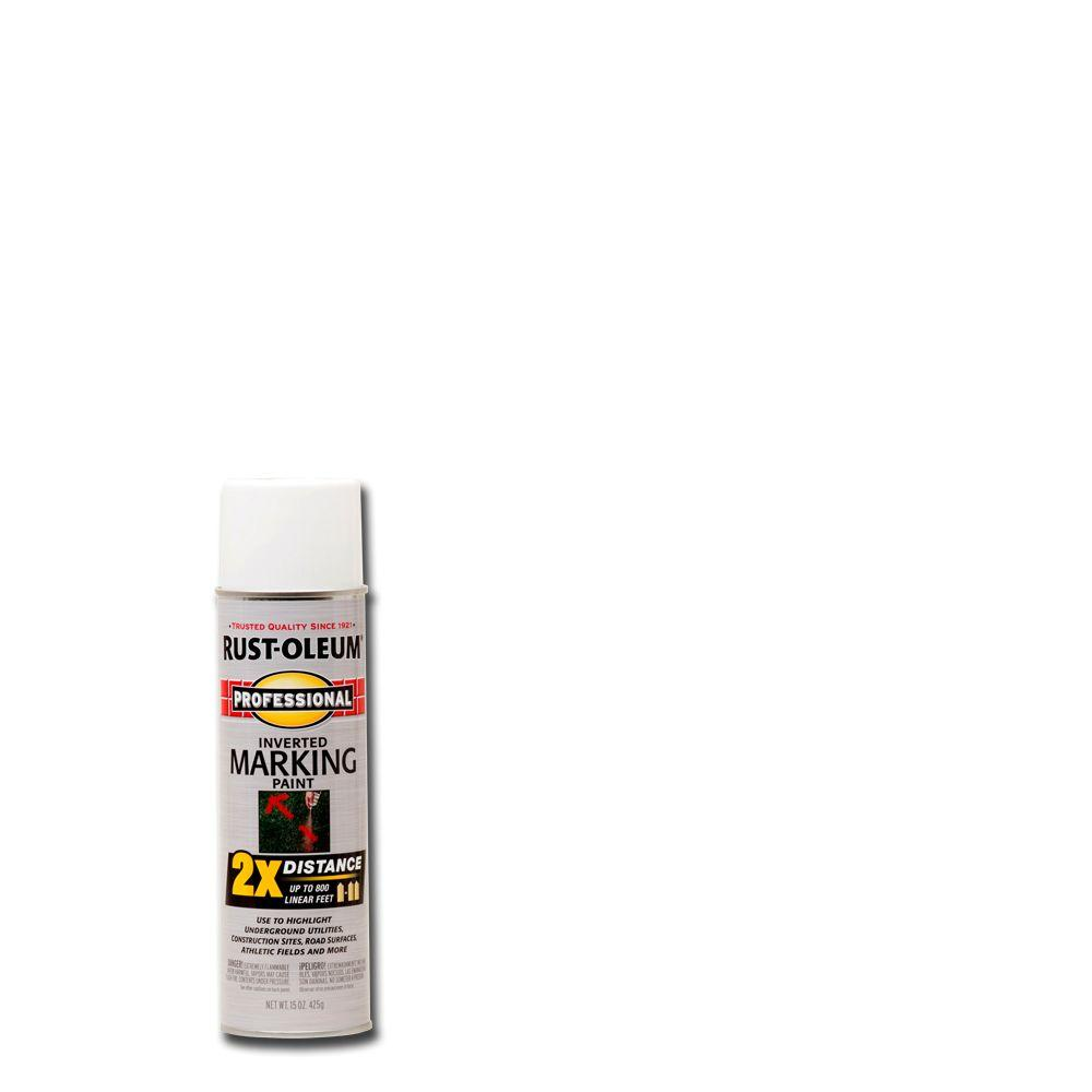 Rust-Oleum Professional 15 oz. White 2X Distance Inverted Marking Spray Paint