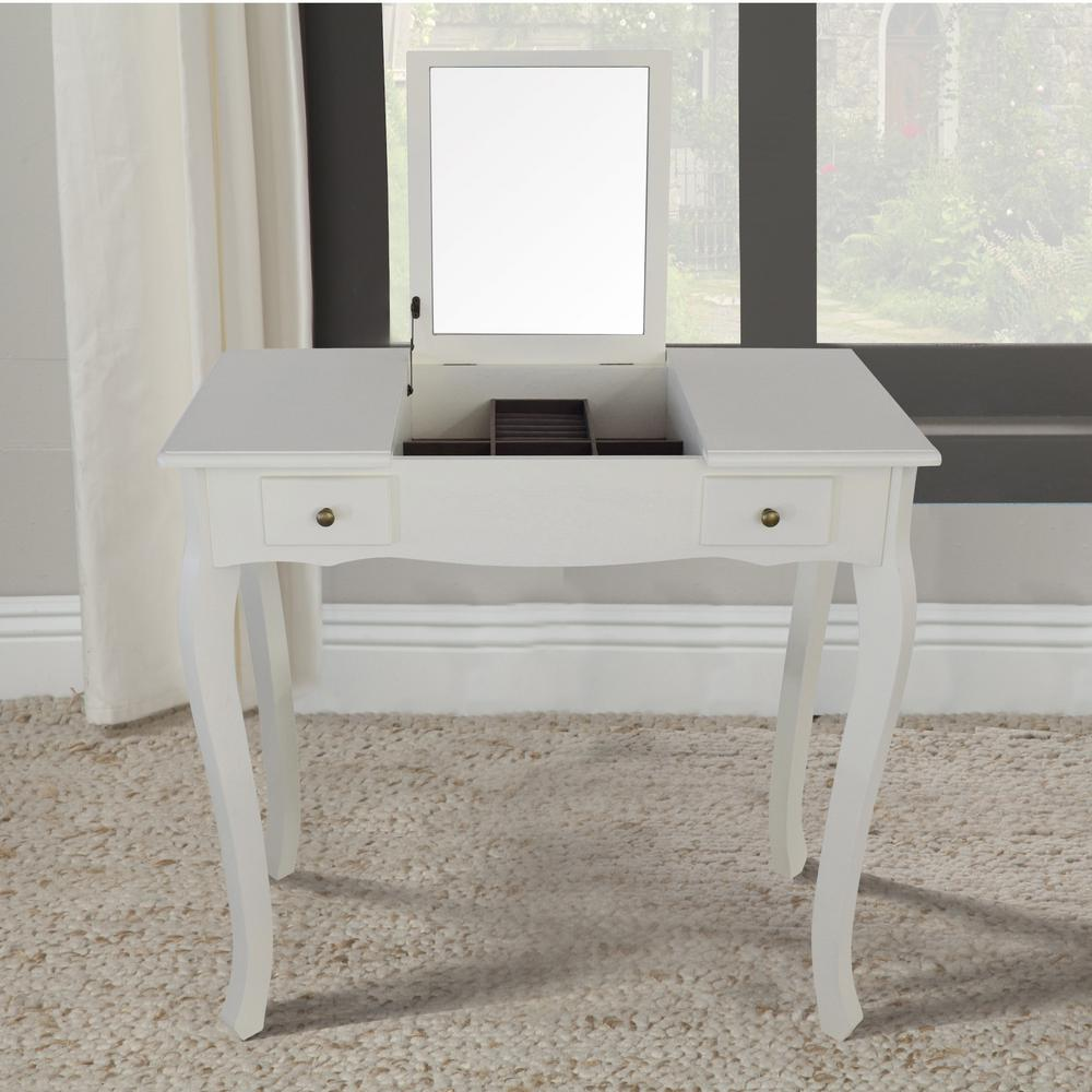 Lux Home Emilie White Vanity Table With Mirror