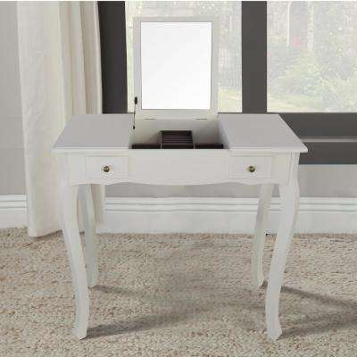 Emilie White Vanity Table with Mirror