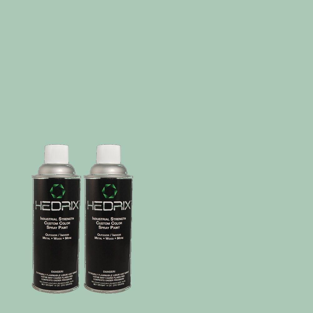 Hedrix 11 oz. Match of 490D-4 Eucalyptus Leaf Semi-Gloss Custom Spray Paint (2-Pack)