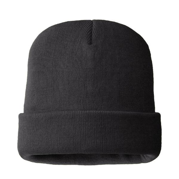 Men's 100% Acrylic Black Color Hat 40 g 3M Thinsulate Lined 4-Layers Knitted