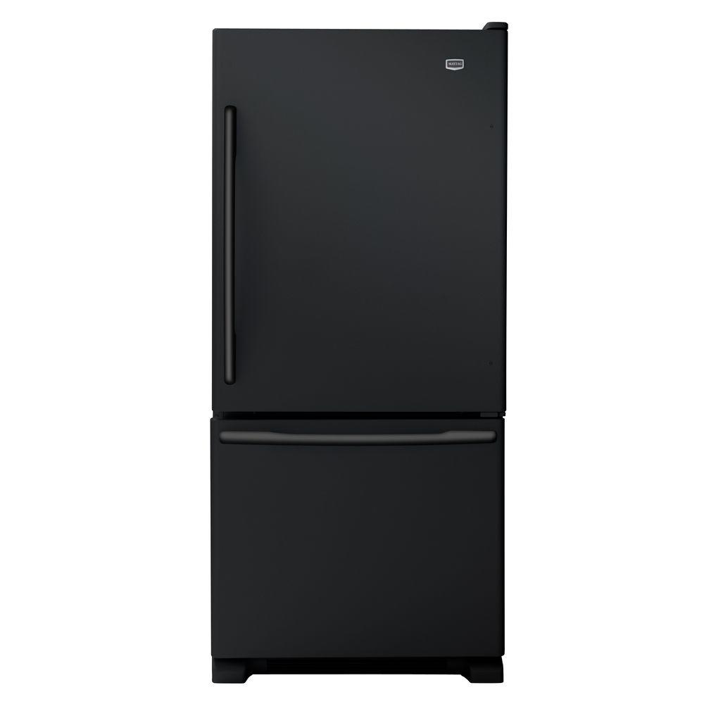 Maytag EcoConserve 30 in. W 18.5 cu. ft. Bottom Freezer Refrigerator in Black-DISCONTINUED