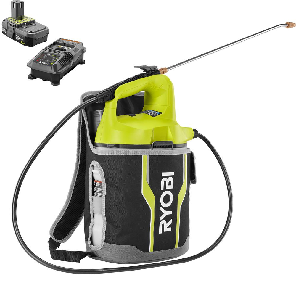 RYOBI ONE+ 18-Volt Lithium-Ion Cordless 2 Gal. Chemical Sprayer and Backpack Holster with 2.0 Ah Battery and Charger Included
