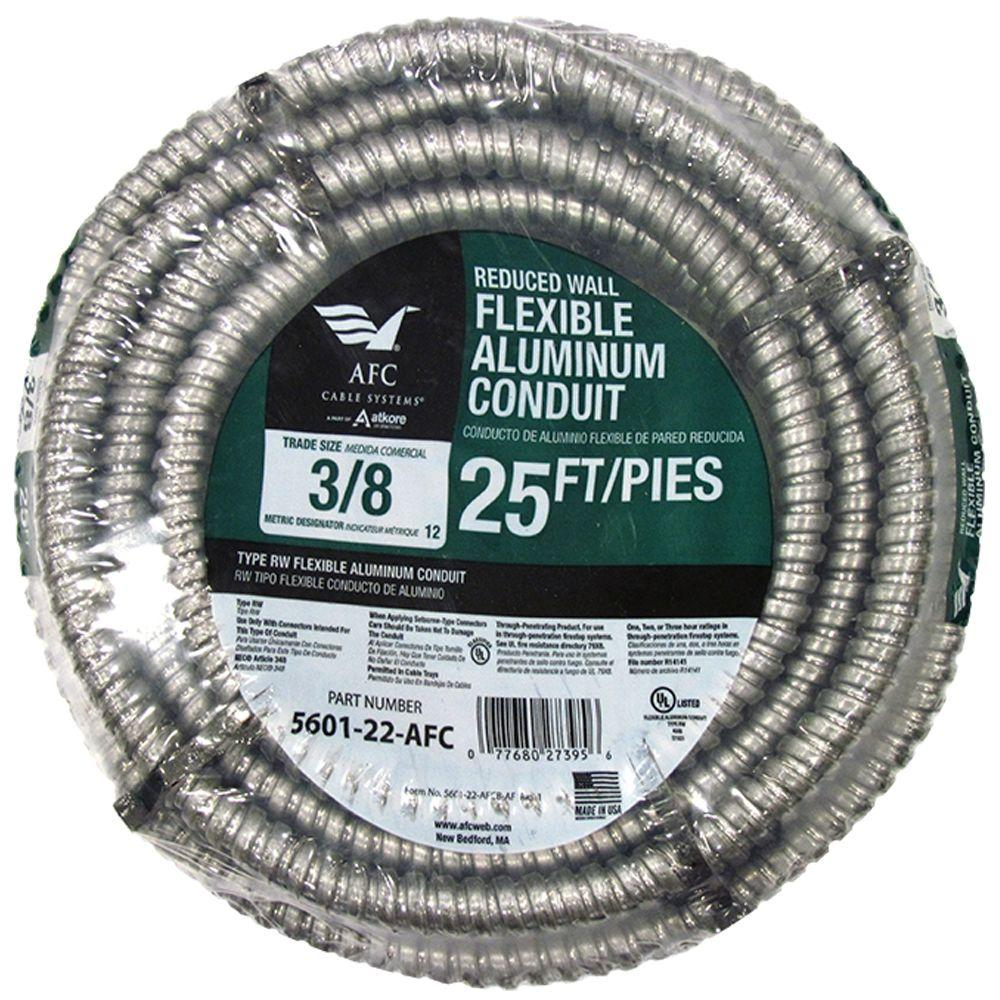 AFC Cable Systems 3/8 x 25 ft. Flexible Aluminum Conduit-5601-22-AFC ...