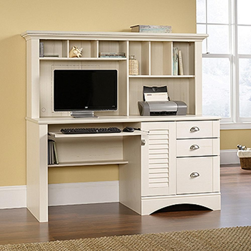 SAUDER Harbor View Antiqued White Desk with Hutch