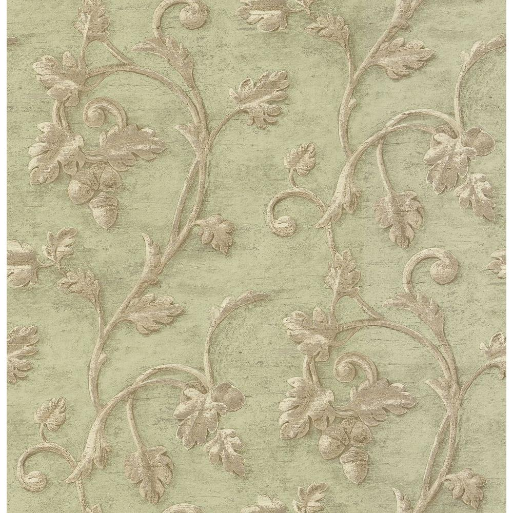 Madison Florals Green Scroll Print Wallpaper Sample
