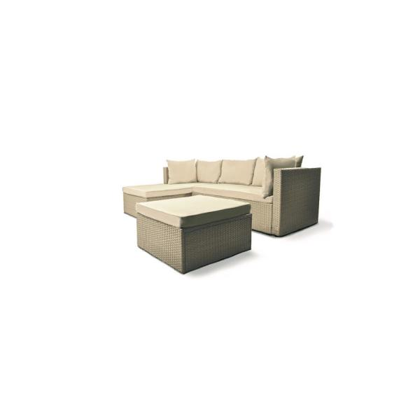 Space Saver Aluminum Frame Outdoor Sectional Set with Cream Cushions and Stone Colored Wicker