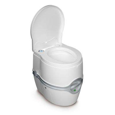 Porta Potti Curve Portable 1-Piece .07 GPF Single Flush Round Electric Toilet in White