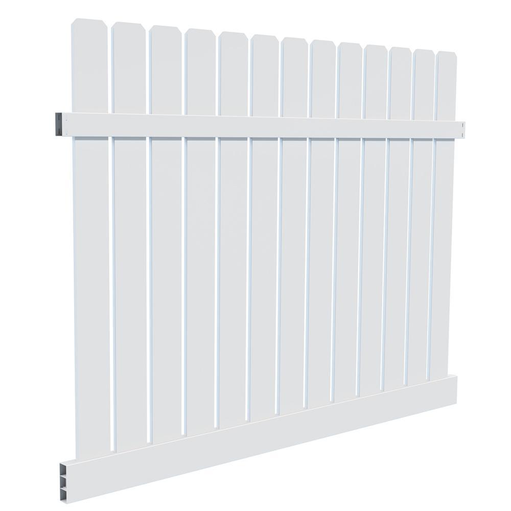 6 ft. X 8 ft. Sacramento White Vinyl Fence Panel Kit
