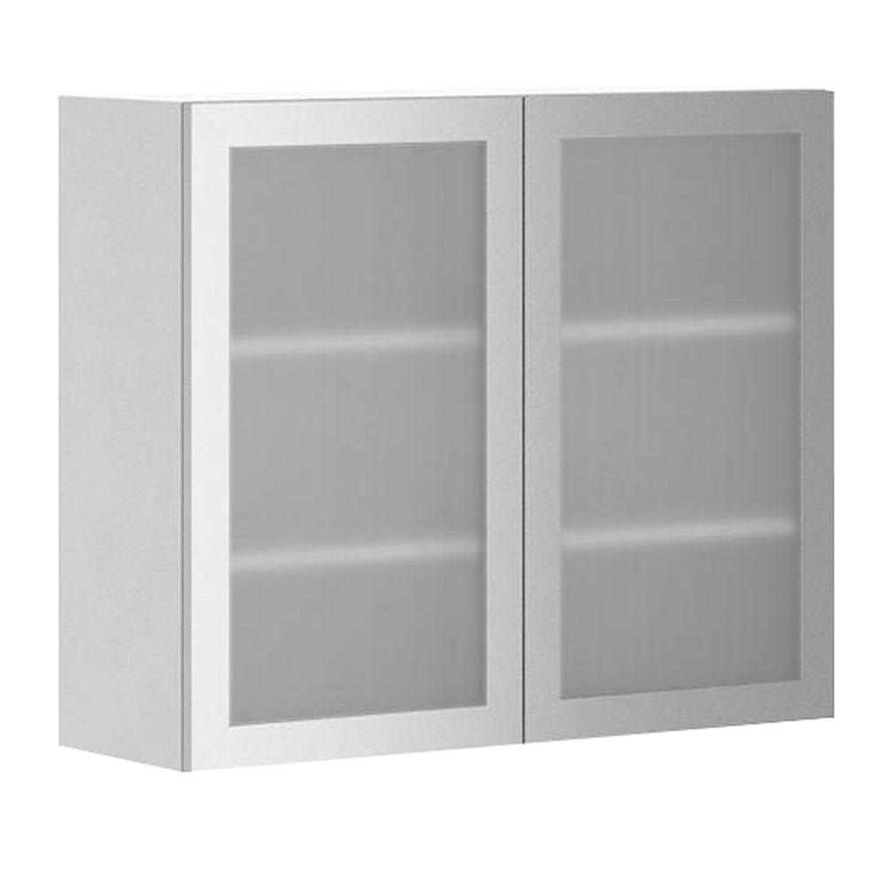 Ready To Assemble 36x30x12.5 In. Copenhagen Wall Cabinet In White Melamine  And Glass