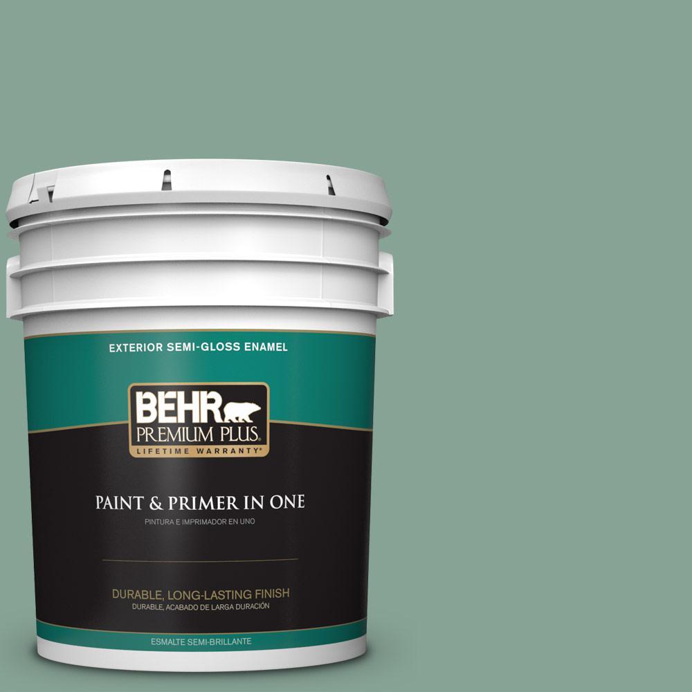 5 gal. #T16-12 Modern Mint Semi-Gloss Enamel Exterior Paint