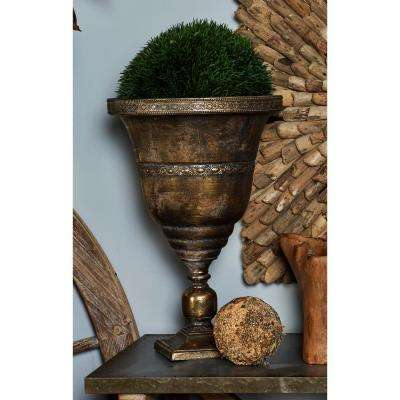 19 in. x 13 in. Tarnished Brass Iron Chalice Urn Planter