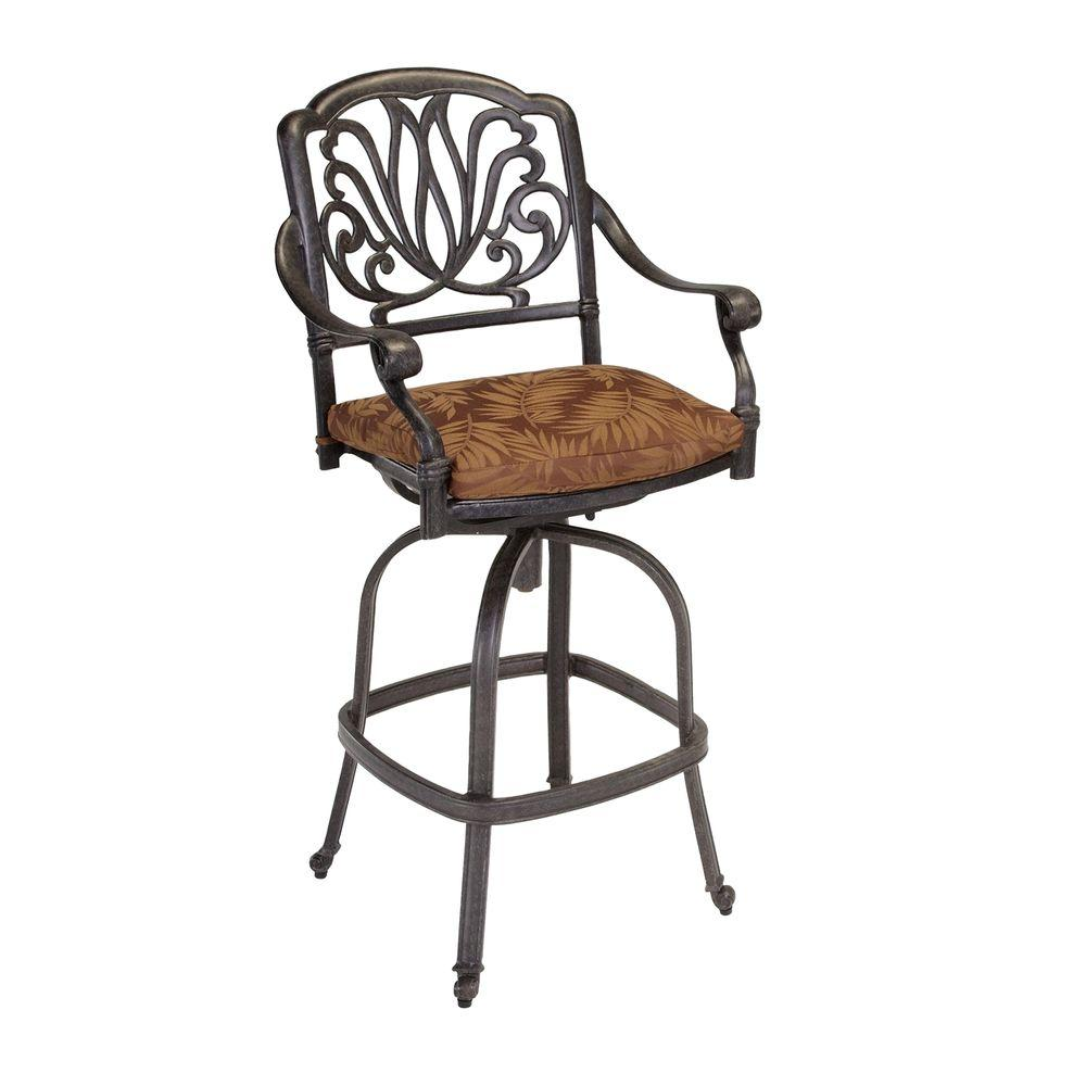 Home Styles Floral Blossom Patio Swivel Stool with Burnt Sierra Leaf Cushion
