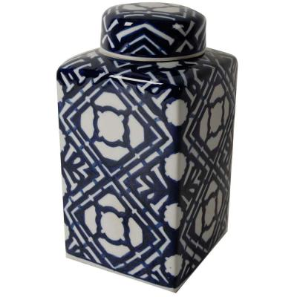 Valora 5 in. x 10 in. Blue and White Decorative Square Vase