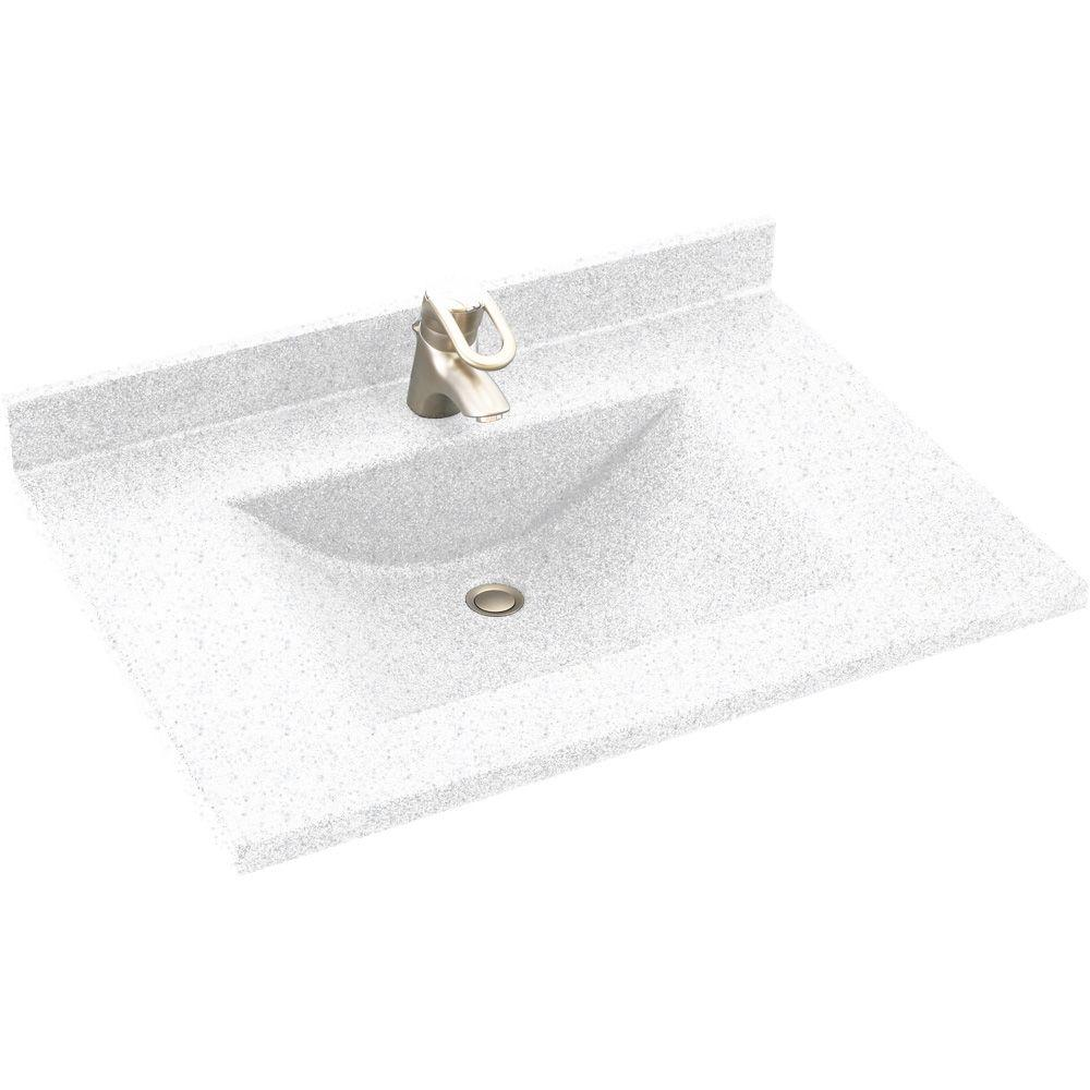 Swan Contour 31 in. Solid Surface Vanity Top with Basin in Arctic Granite